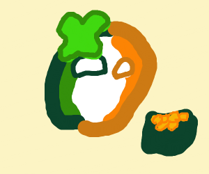 Countryball Ireland with pot of gold