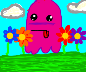 A pink spooky ghost in a flower field