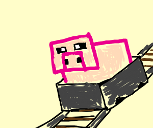 minecraft pig in a minecart