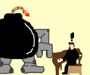 bomb robot approaches concerned pianist