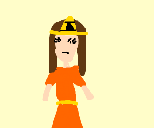Annoyed Zelda in a Orange Dress