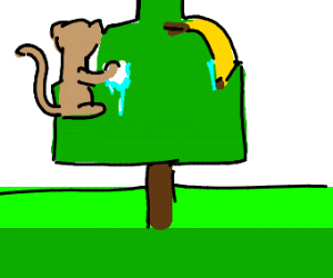 Banana and monkey cleaning a tree