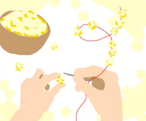 Making a popcorn garland
