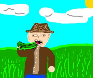 man consuming grass
