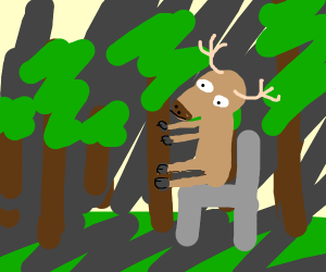 Deer sitting on chair in the woods