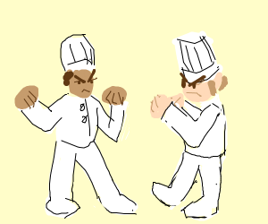 A chef fighting another chef