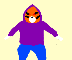 Tiger in a Purple Hoodie