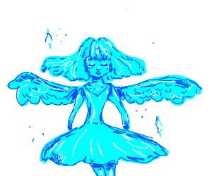 Blue Angel in a White Void