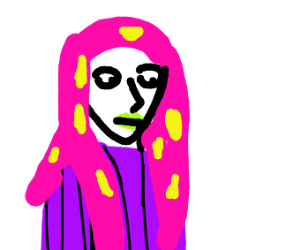 woman with pink/yellow hair
