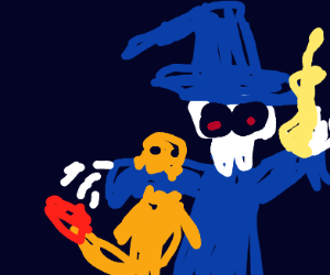 charmander bites skeleton wizard on arm