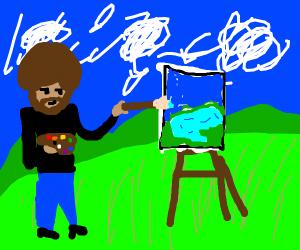 bob ross painting a lake in a prairie