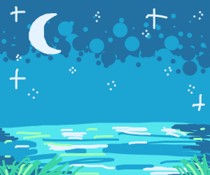 peaceful lake at night
