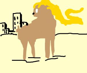 A blonde deer running away from a city
