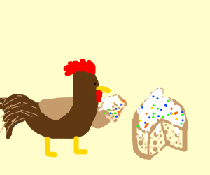 Rooster eating Cake