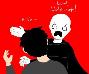 Voldemort smacking Harry Potter