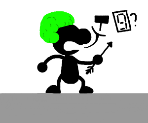 Stick figure with green afro and an arrow