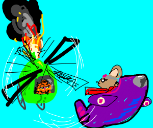 garfield chasing mouse in burning helicopter