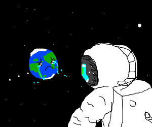 rocket man sees a depressed earth