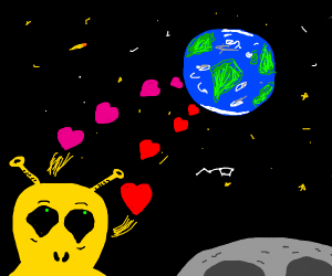 yellow alien loves the earth