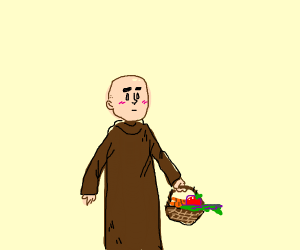monk holding basket of veggies