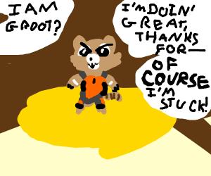 Rocket Raccoon in quicksand