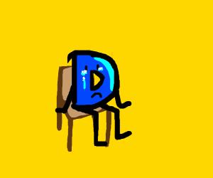 Sad man in chair