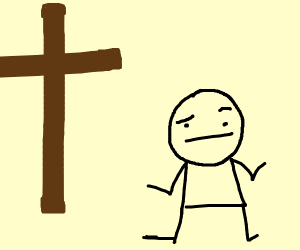 Confused man and a cross