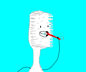 A humanoid tooth brushing his own teeth