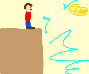 Man on a cliff.