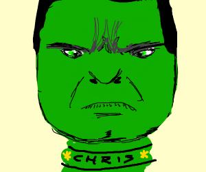 Hulk wearing necklace saying 'Chris smash'
