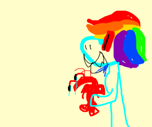 Evil My little pony eating a lobster