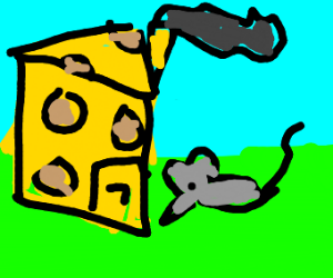 mouse standing outside his cheese house