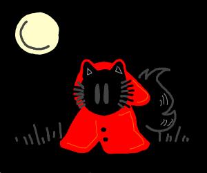 Black cat furry in red coat