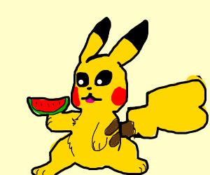 pikachu eating a black man's food