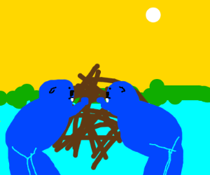 2 blue beavers making a dam