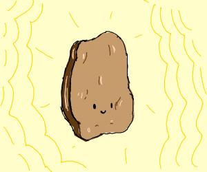 Chicken nugget radiating a golden aura
