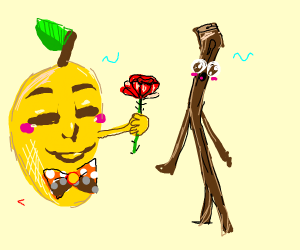 A mango with a bow giving a rose to stickman