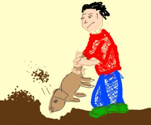 Dogs make effective shovels