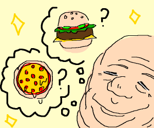fat man cant decide over pizza or burgers