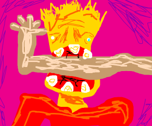 Bart Simpson eating someones leg