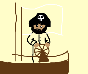 Man sailing pirate ship with hat on