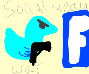 twitter vs facebook(twitter has a gun)