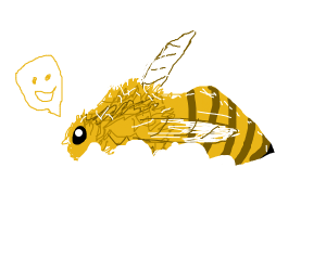 Happy Bee laying in the snow