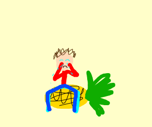 sad guy sitting on a pineapple