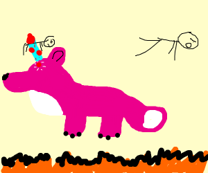a pink unicorn in a black fire outline