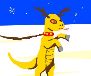 Yellow upright reindeer-lizard