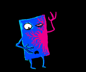 blue square person becoming pink