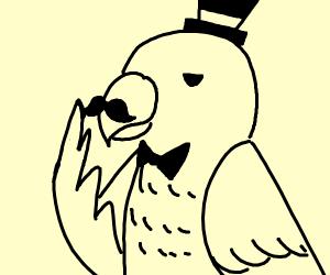 Parrot stroking a mustache