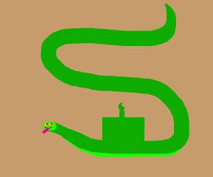 Snake eating a cake