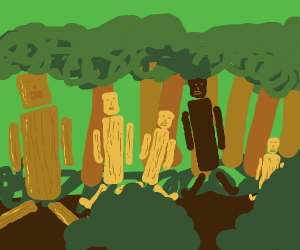 Forest of wooden puppets